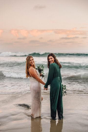 Romantic Same Sex Beach Elopement Inspiration in Earth Tones – Kalon Weddings Photography – Chloe Nicole Weddings 43