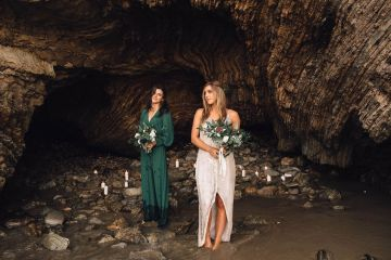 Romantic Same Sex Beach Elopement Inspiration in Earth Tones – Kalon Weddings Photography – Chloe Nicole Weddings 6