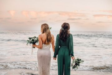 Romantic Same Sex Beach Elopement Inspiration in Earth Tones – Kalon Weddings Photography – Chloe Nicole Weddings 9
