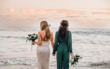 Romantic Beach Elopement In Earth Tones (With A Bridal Jumpsuit)