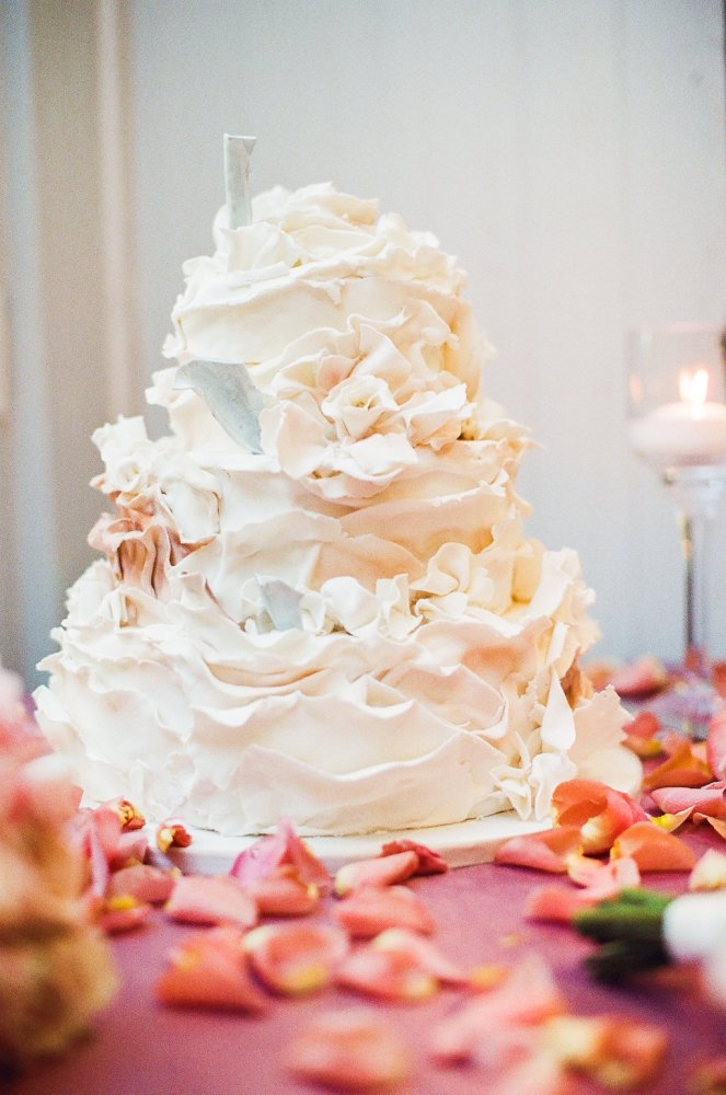 White Ruffle Wedding Cake