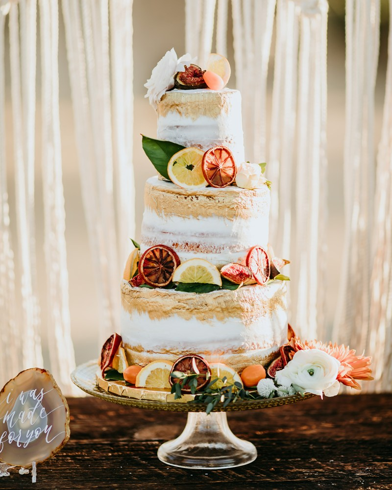 Naked Wedding Cake with Citrus & Fruit