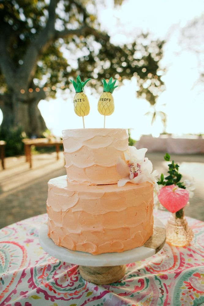 Peach Ombre Wedding Cake with Pineapple Toppers