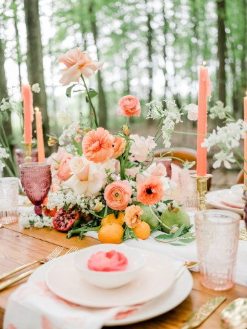 Whimsical Pantone Living Coral Colorful Meadow Wedding Inspiration – Kira Nicole Photography 22