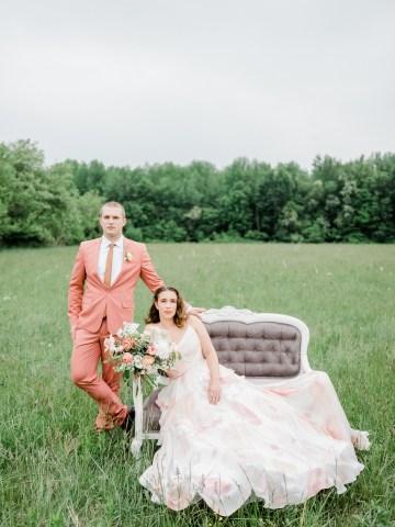 Whimsical Pantone Living Coral Colorful Meadow Wedding Inspiration – Kira Nicole Photography 27