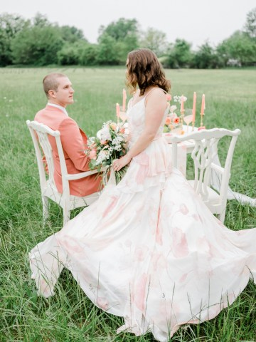 Whimsical Pantone Living Coral Colorful Meadow Wedding Inspiration – Kira Nicole Photography 34