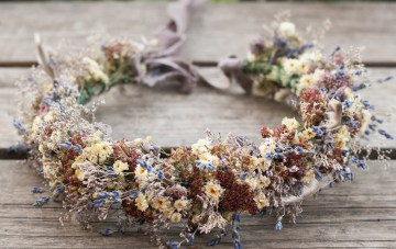 10 Beautiful Dried Flower Crowns You Can Buy on Etsy – Idyllwild Studio – Lavender and Blue Dried Flower Crown 2
