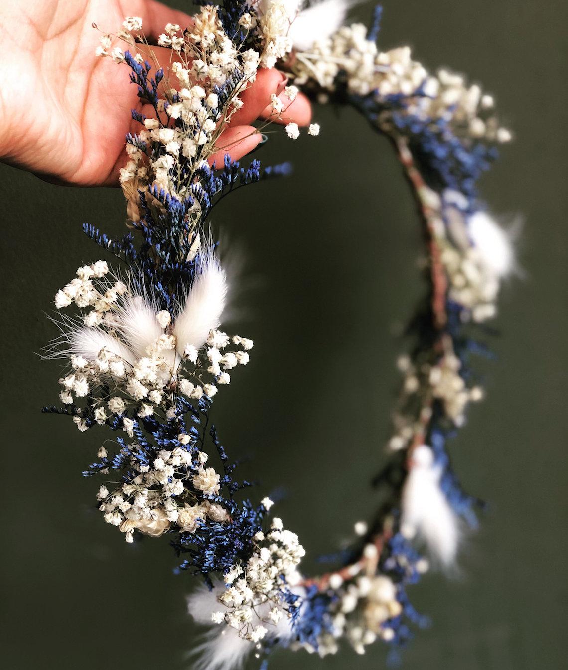 multicolored flower crown dried flowers