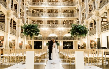 An Elegant Wedding At Baltimore's George Peabody Library
