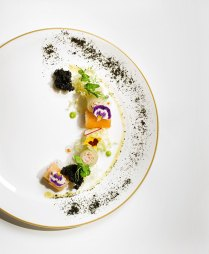 Compressed Melon and Snow Crab Meat Roulade, Green Pea Mousseline, Squid Ink Sponge Cake