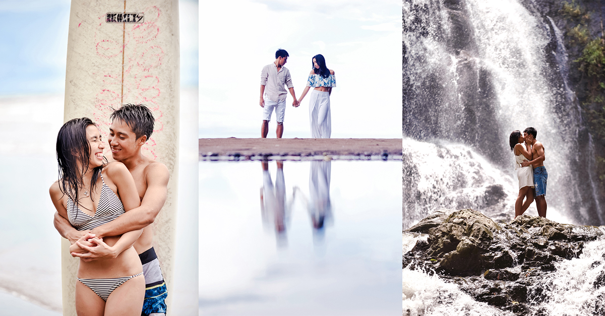 Waterfall And Beach Engagement