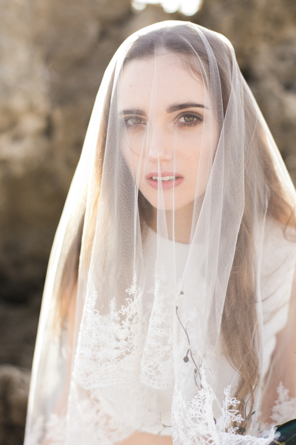 Embroidered Bridal Veil With Wide Floral Edge Style 005