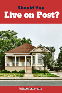 "a pin showing a home stating ""should you live on post?"""