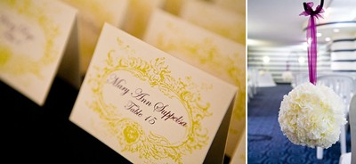 Guest seating signs and floral decoration