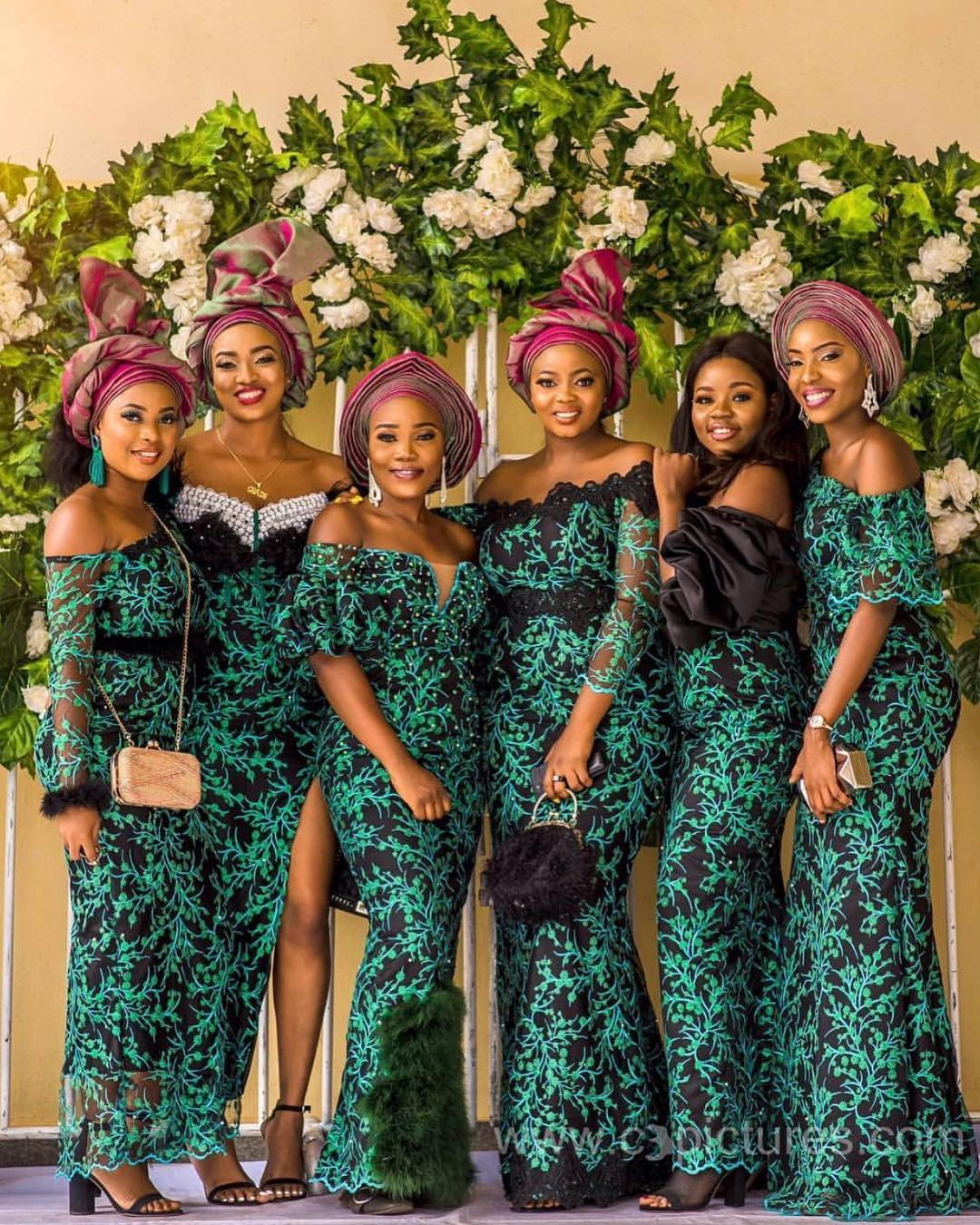 Aso-ebi Style: Check Out These Five Ravishing Green Aso-ebi Styles | MOMO AFRICA | Nigeria Wedding | Naija Weddings