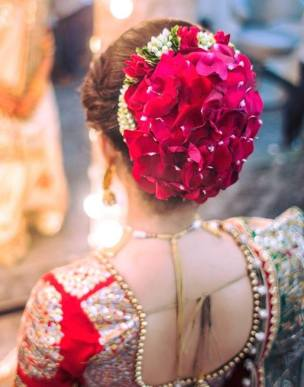 Indian Hairstyles for Wedding Saree/Lehenga in Red