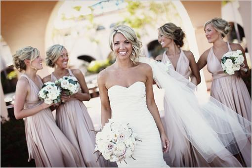 Bridesmaid Dresses In Neutrals: Champagne, Beige, And Pale