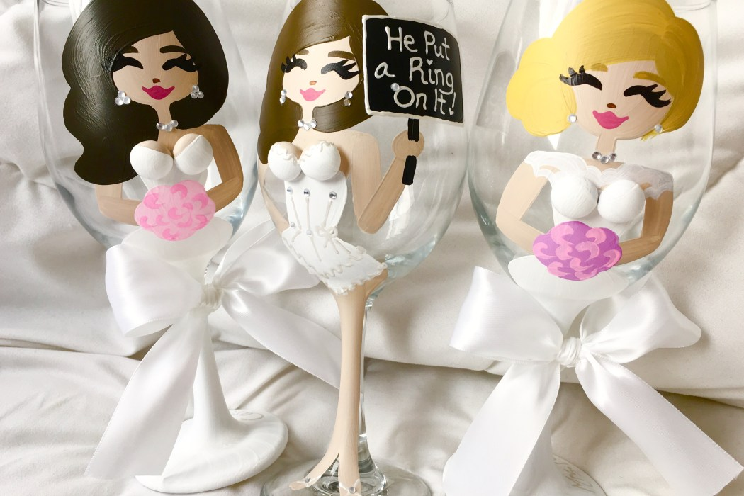 glass bellas, bridesmaid gift