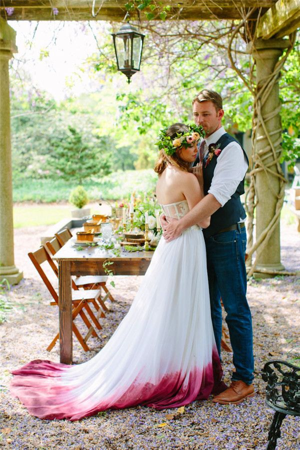 diy wedding dress, dip dye wedding dress trend