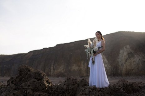 A Contemporary Coastal Bridal Shoot at Marsden Rock (c) Leanne Elizabeth Photography (11)