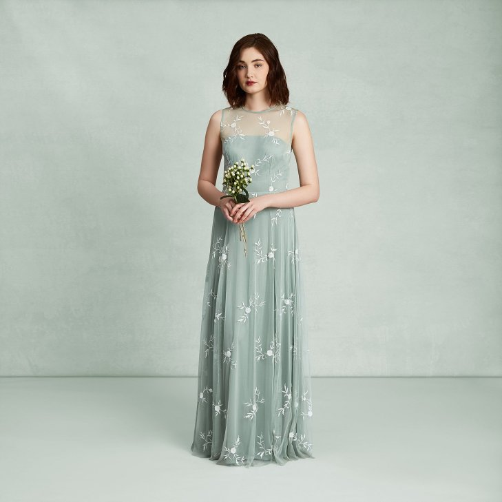 Emma Embroidered Green Daisy Tulle