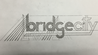 Original drawing and sketch of the logo for Bridge City