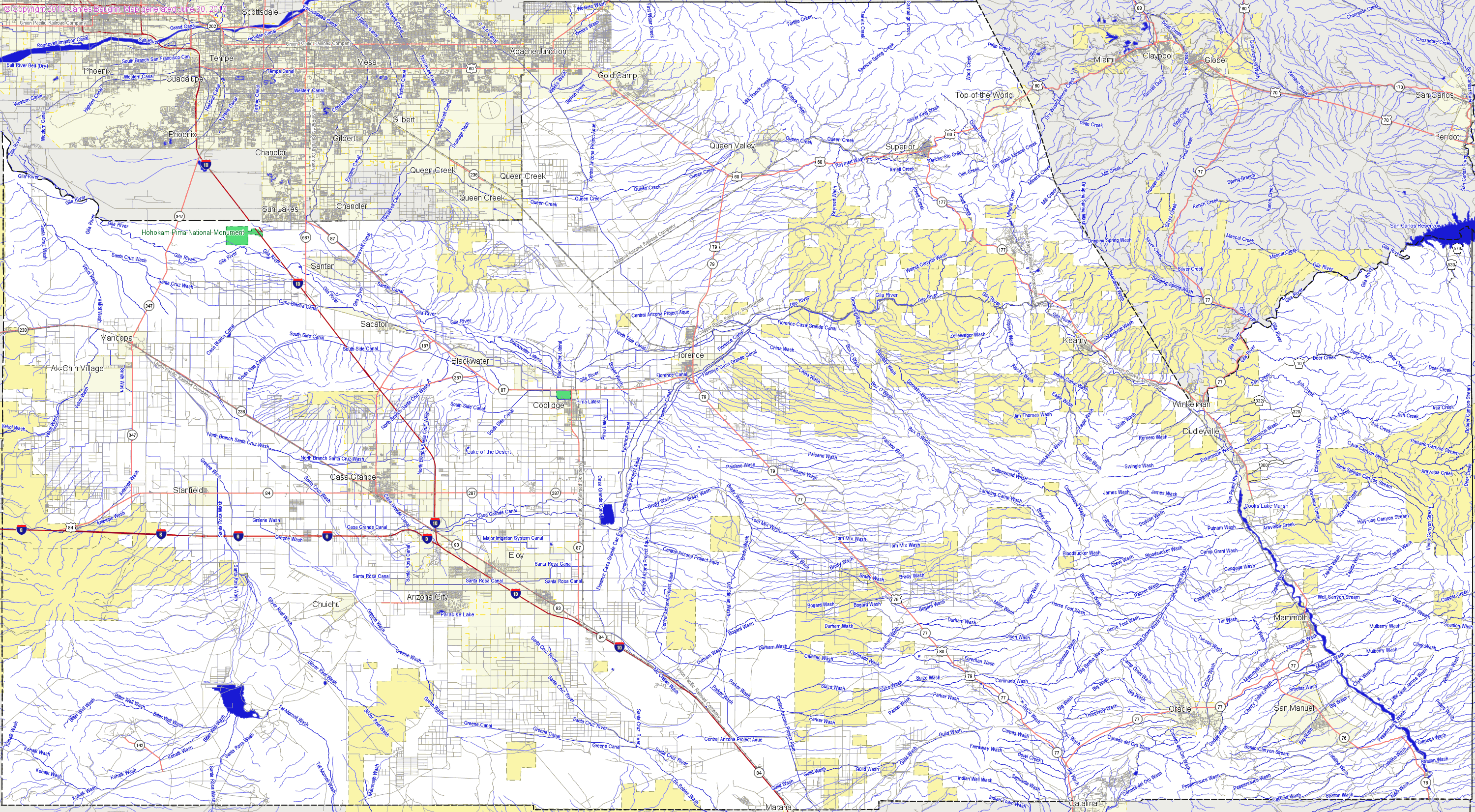 Maricopa And Pinal County Map