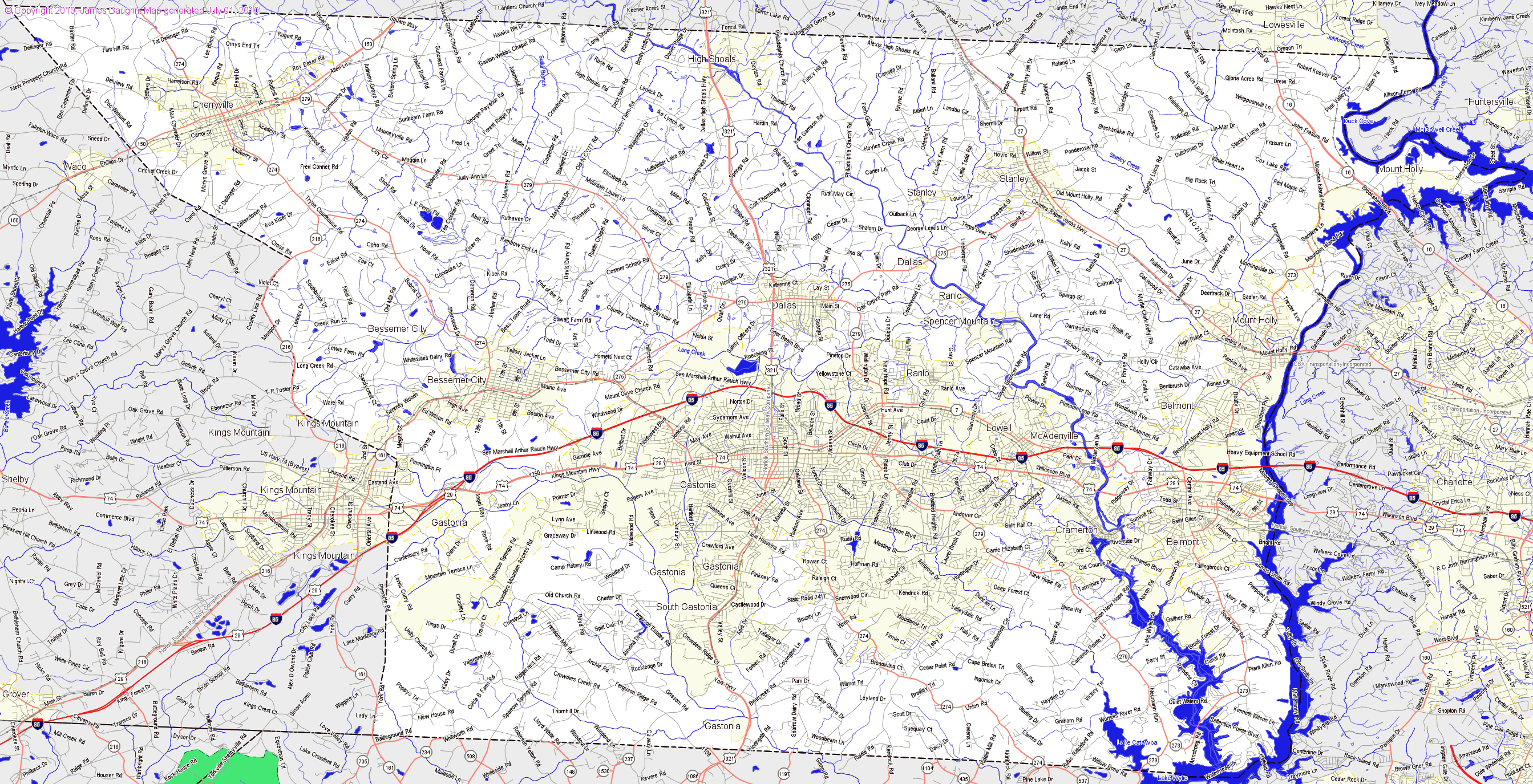 Map County Mecklenburg