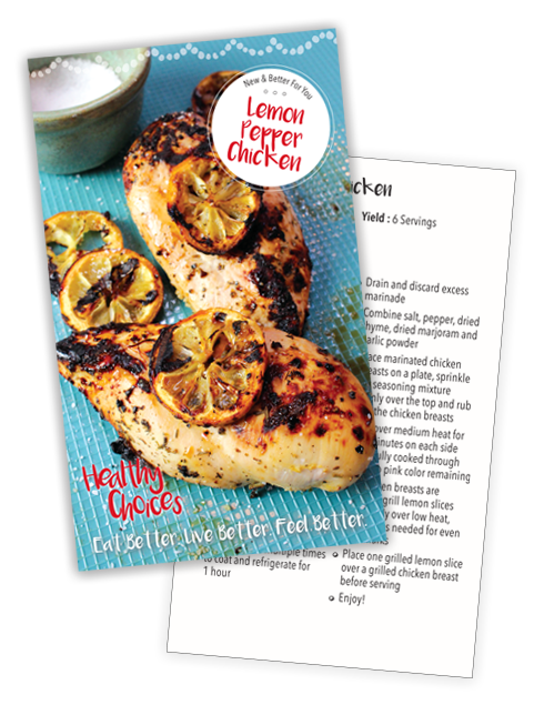 01 Lemon-Pepper Chicken Recipe Card front and Back
