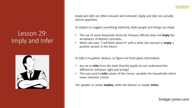Practical English Usage Lesson 29 Imply and infer - bridger-jones.com