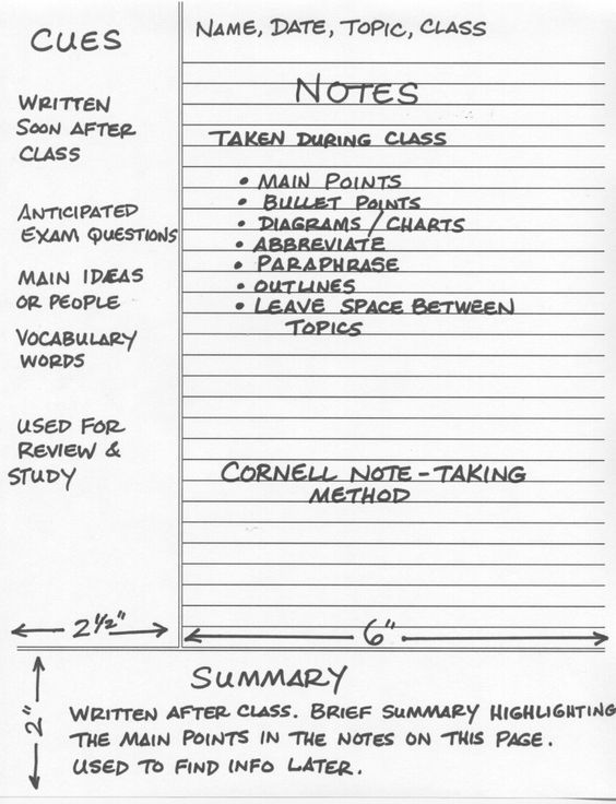 Example cornell notes - note-taking study tips