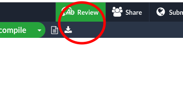 The Overleaf Review tab