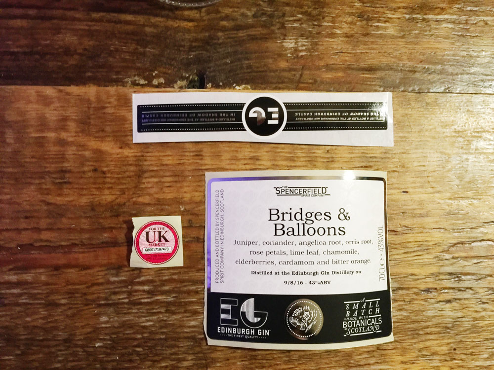 Edinburgh Gin Experience - labels