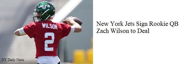 New York Jets' Zach Wilson signs rookie deal (M-T)