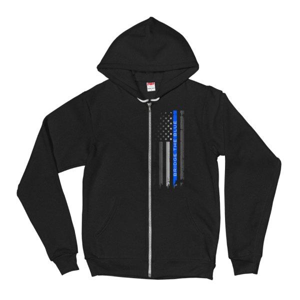 bridge the blue line flag hoodie