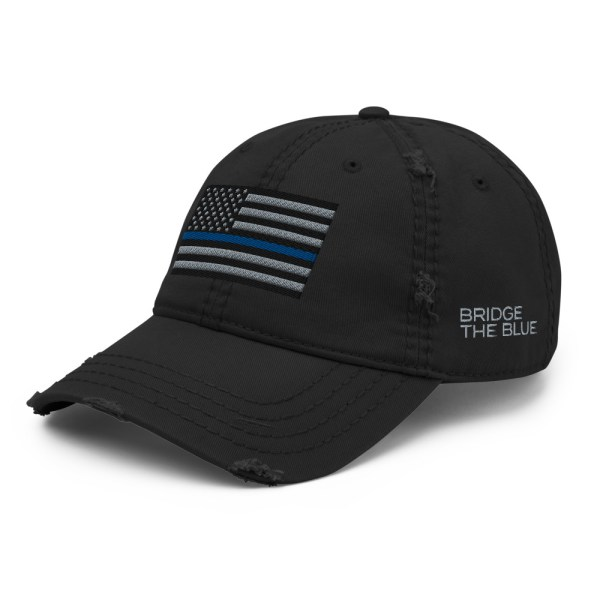 thin blue line distressed hat angled