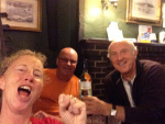 Winning a bottle of wine at the Castle Hill Pub in Pevensey bay to the shock of the locals and ourselves!