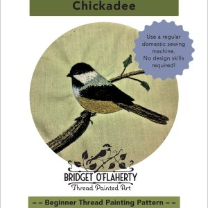 chickadee bird pattern thread painting by Bridget O'Flaherty