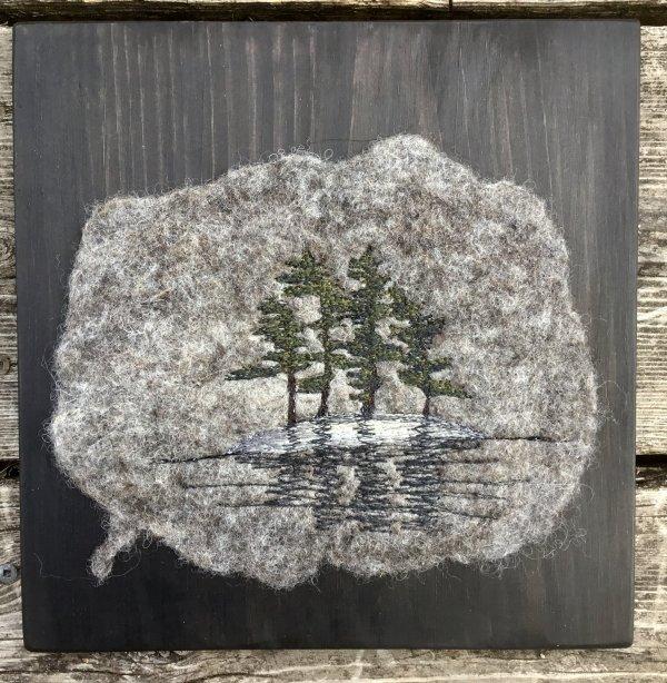 Island Camping scene felted thread art mounted on pine board
