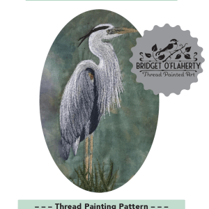 Heron free motion embroidered on cotton pattern