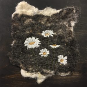 daisies free motion embroidery on felted art