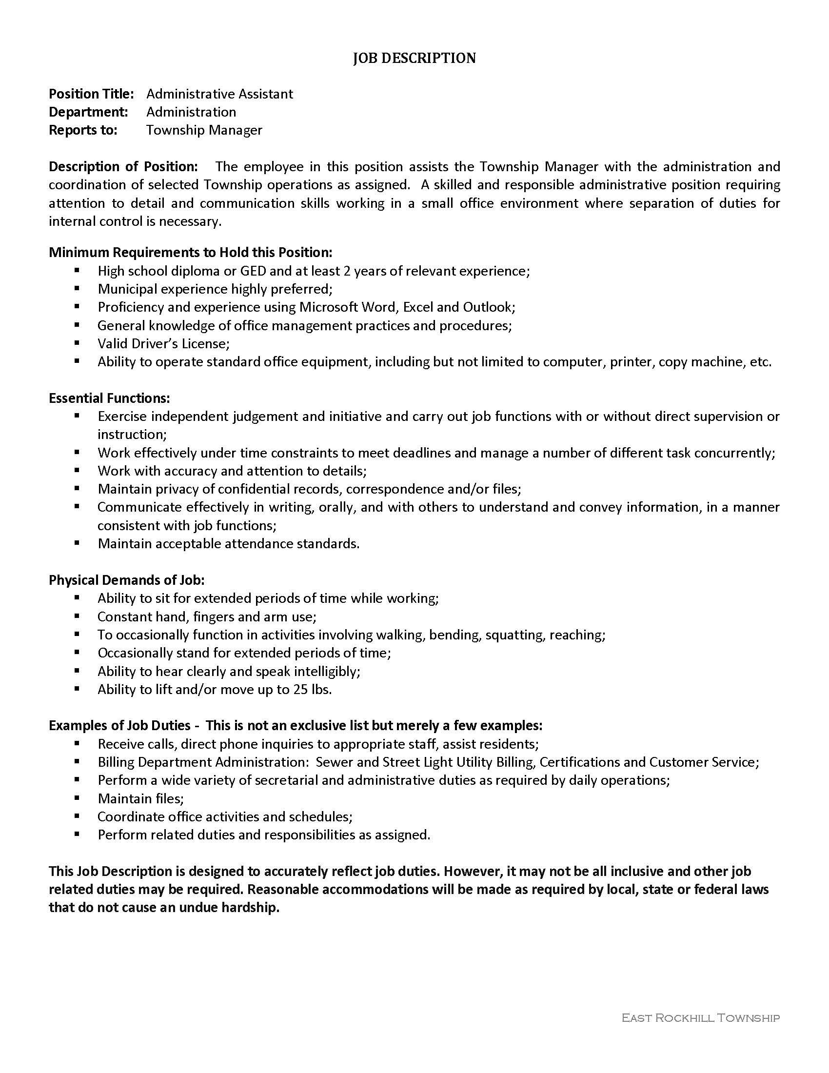job description on resume for customer service