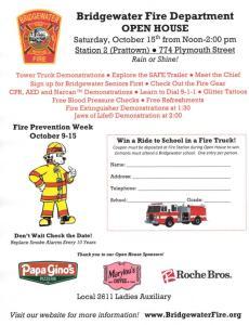 Bridgewater Fire Department Announces Open House