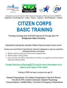 Citizen Corps/CERT Basic Training Course Announced