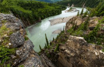 river, shore, and treeline