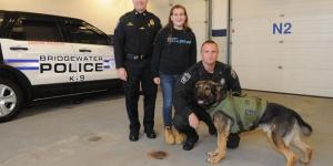 Bridgewater Police thank Mollie Coyne, 13, for raising money for K-9 program