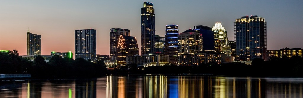 Nighttime picture of downtown Austin from across town lake