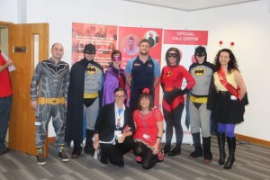 Tom Brady of Sale Sharks helping to raise money for Comic Relief with the LMC superheroes