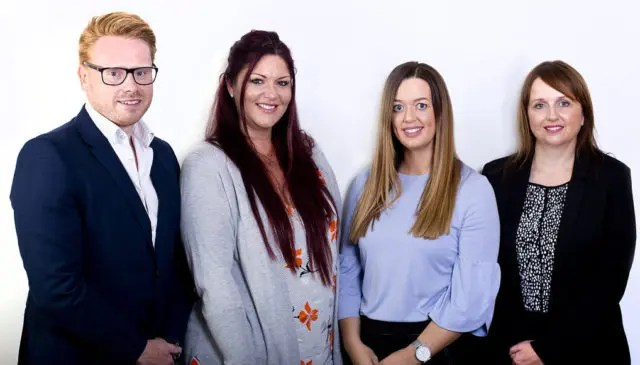 (L-R): Stephen Todd, co-founder and managing director at VAS Group; Gina May, co-founder and director of operations at VAS Group; Gemma Bancroft, Case Manager at Hope Capital; Laura Carr, Head of Underwriting at Hope Capital.