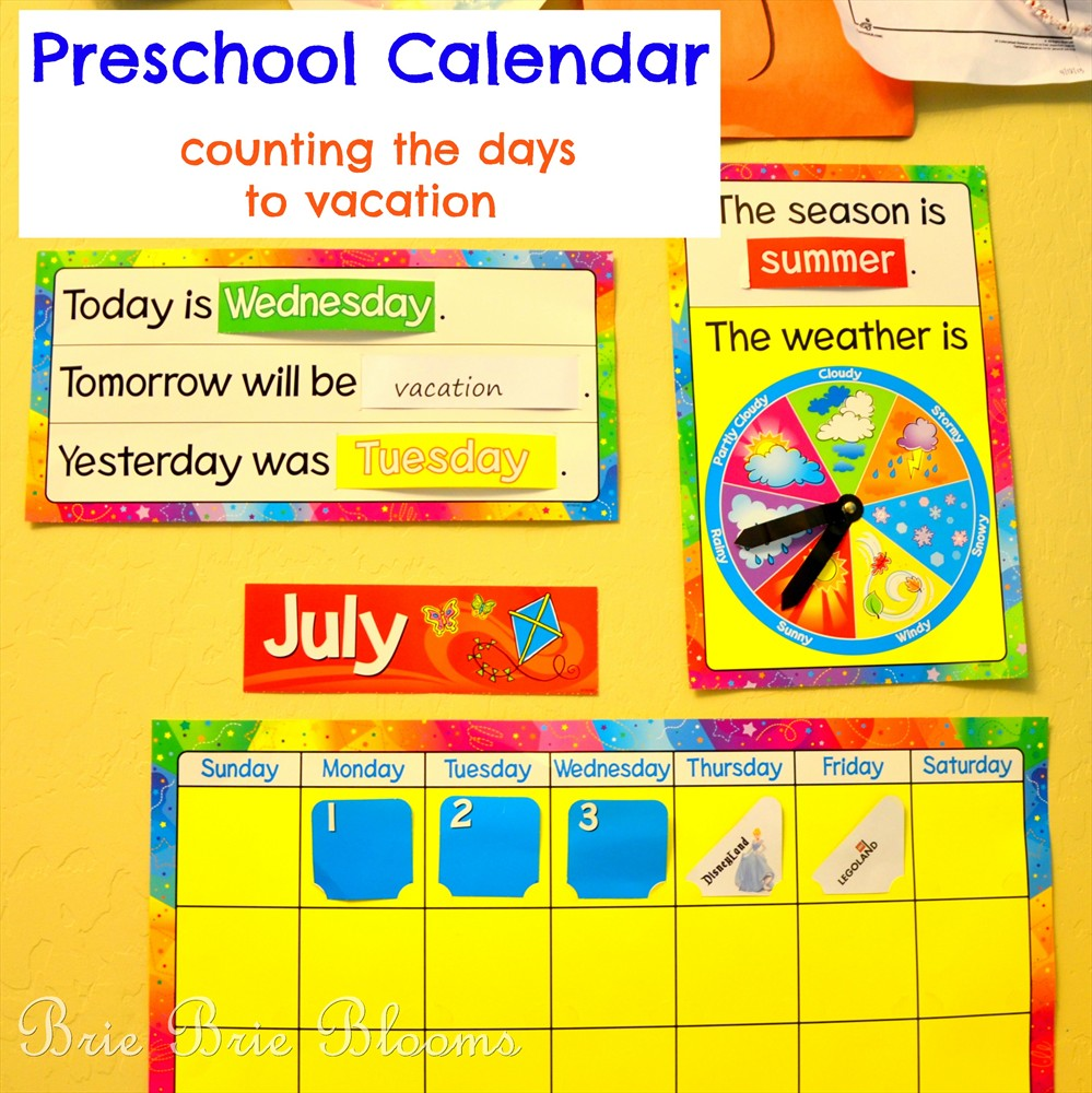 Preschool Calendar Counting The Days To Vacation Brie